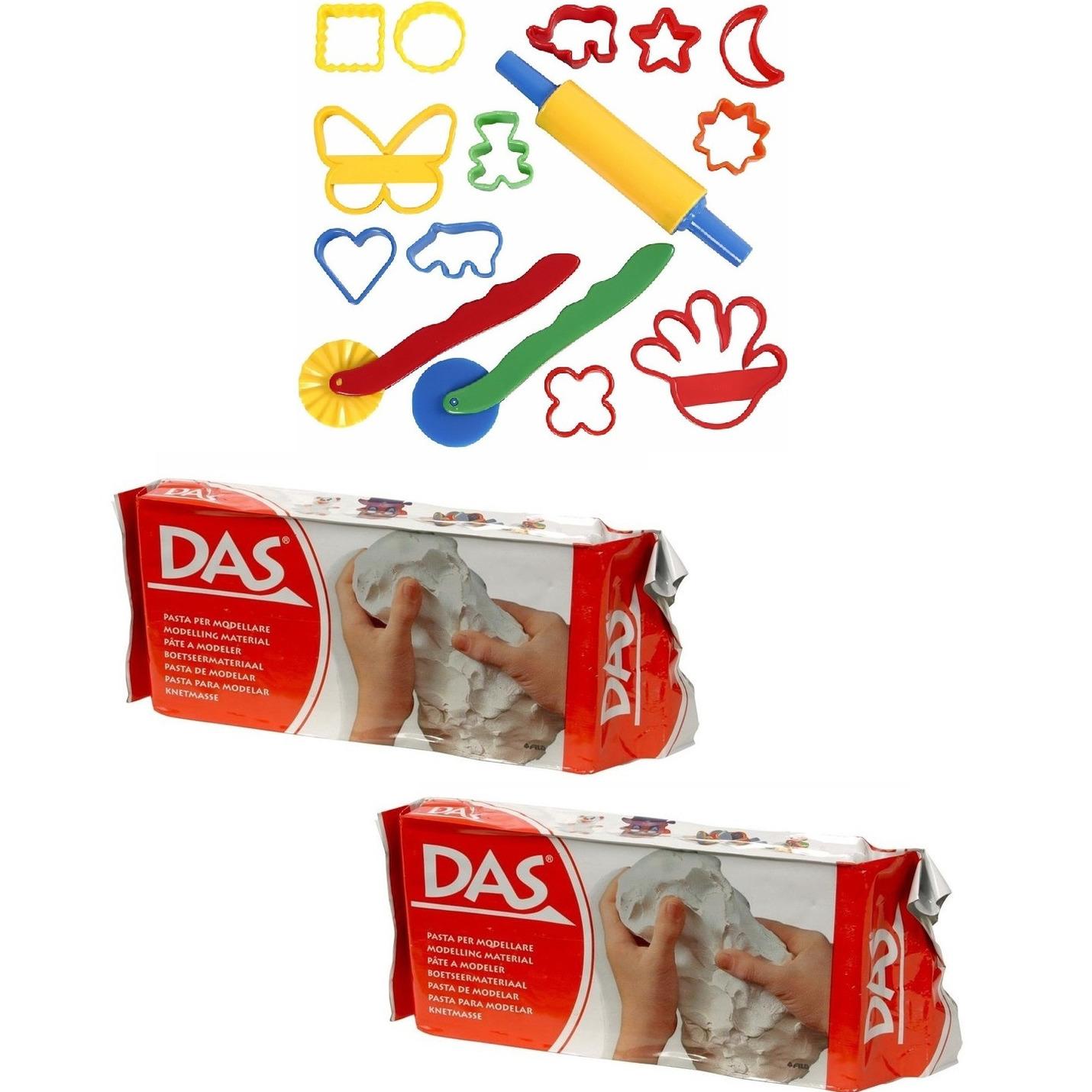 Speelgoed klei combi pakket van 2 kilo witte klei met 15 delige kleivormen set