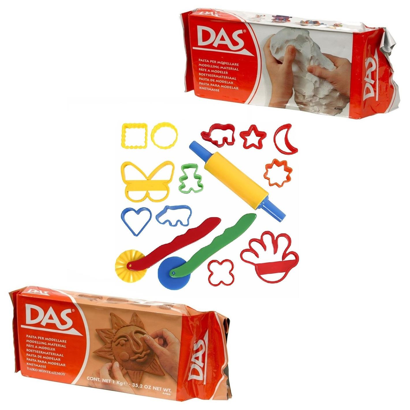 Speelgoed klei combi pakket van 2 kleuren klei met 15 delige kleivormen set