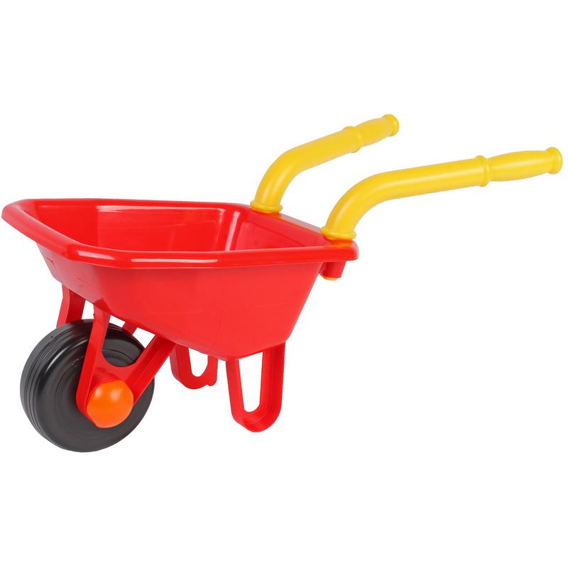 Speelgoed kruiwagen kunststof rood 25 x 66 cm