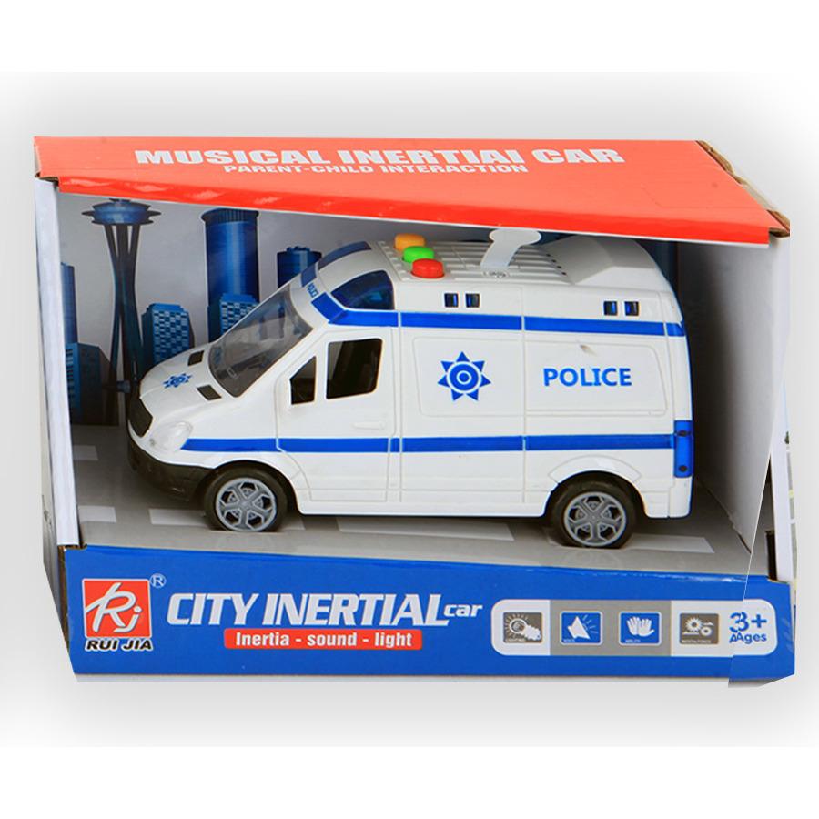 Speelgoed politie auto bus met licht en geluiden 14 cm