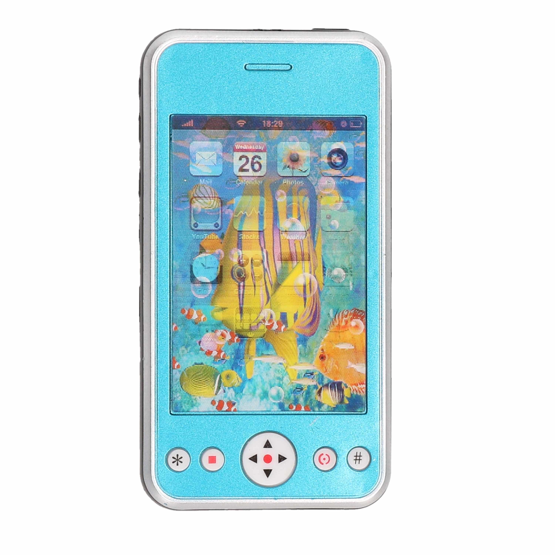 Blauwe speelgoed smartphone mobiele telefoon met licht en geluid 11 cm