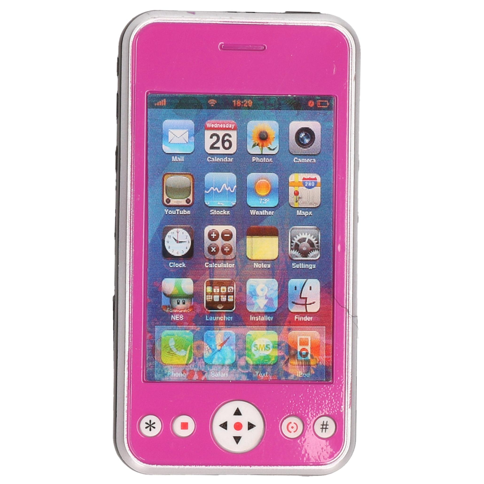 Roze speelgoed smartphone mobiele telefoon met licht en geluid 11 cm