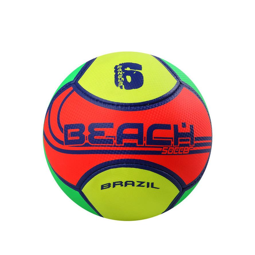 Buitenspeelgoed voetbal geel oranje groen 22 cm maat 5