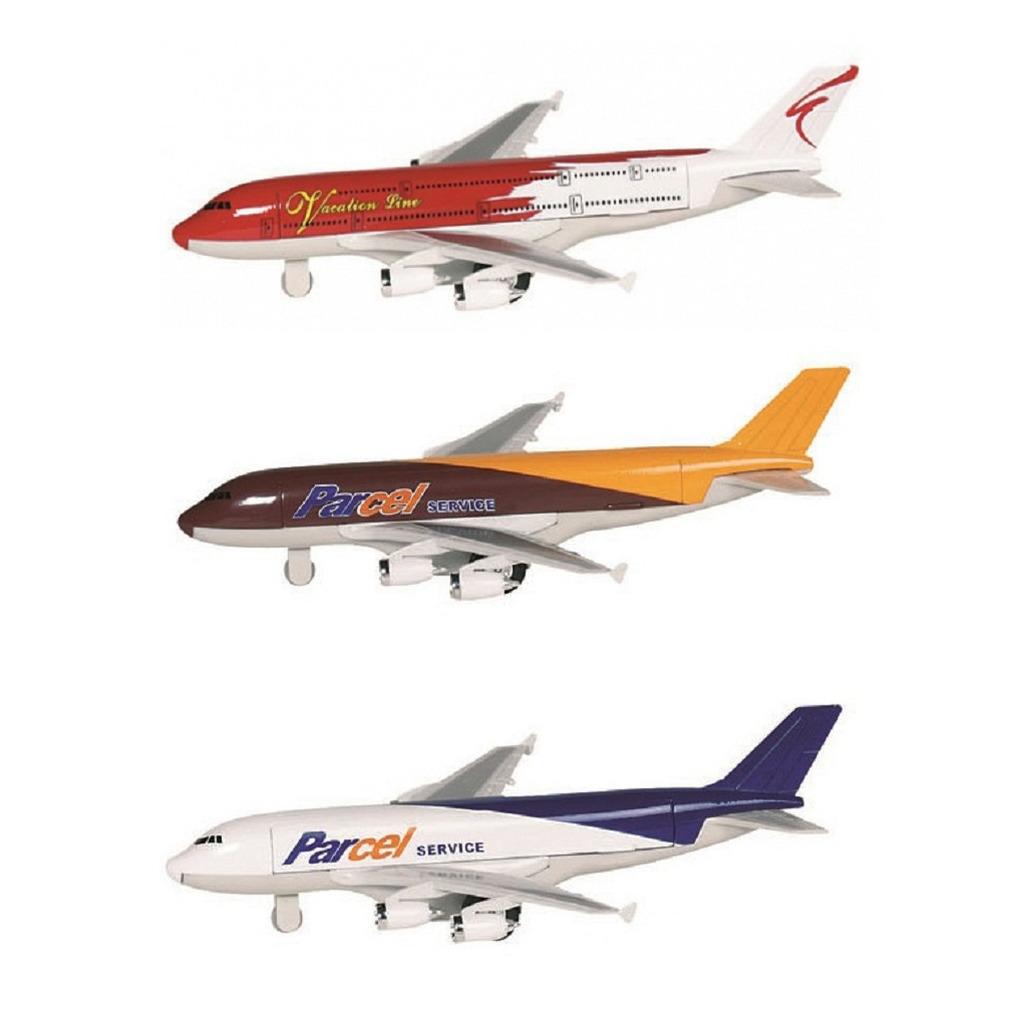 Speelgoed vliegtuigen setje van 3 stuks bruin rood en wit blauw 19 cm