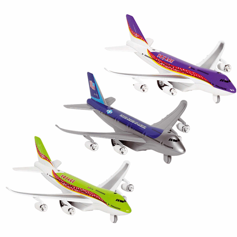 Speelgoed vliegtuigen setje van 3 stuks groen blauw en paars 19 cm