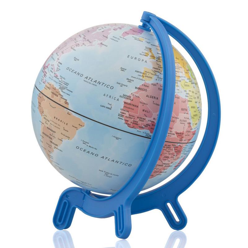 Speelgoed wereldbol/globe blauw op kunststof voet 16 cm