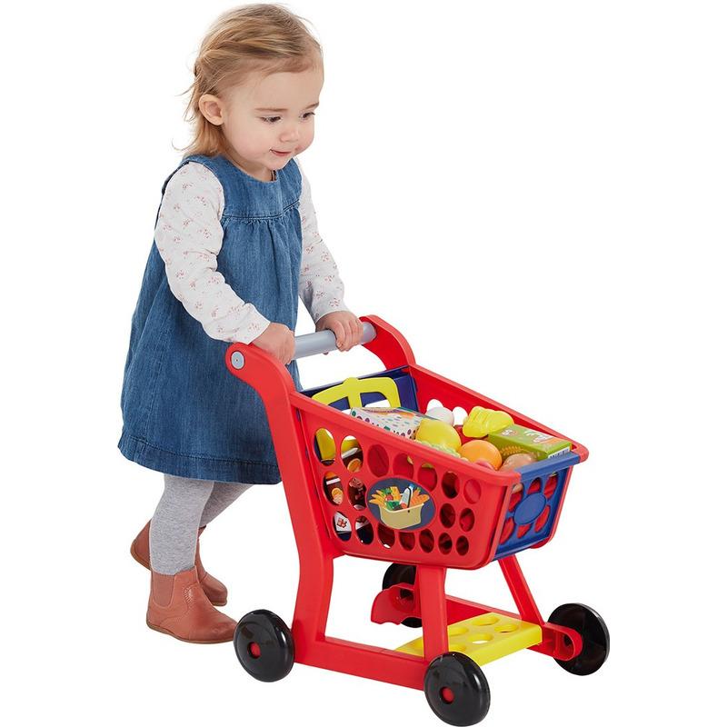 Speelgoed winkelkarretje 33 x 19 x 41 met boodschappen 14 delig voor jongens meisjes kinderen
