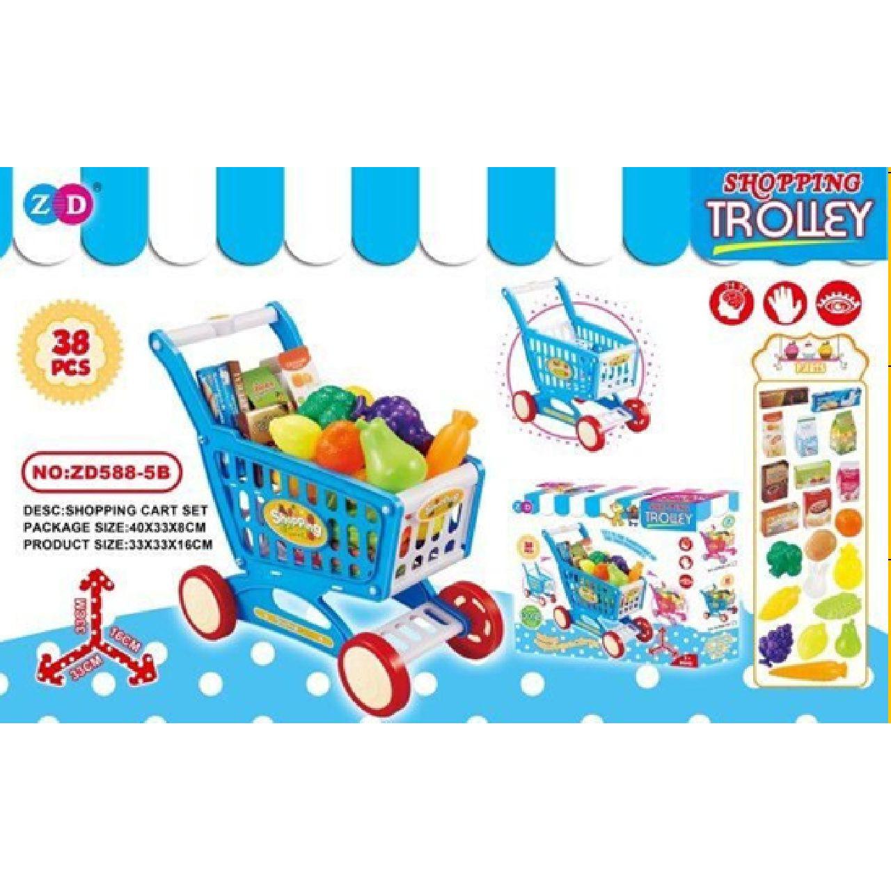 Speelgoed winkelkarretje 38 delig met boodschappen