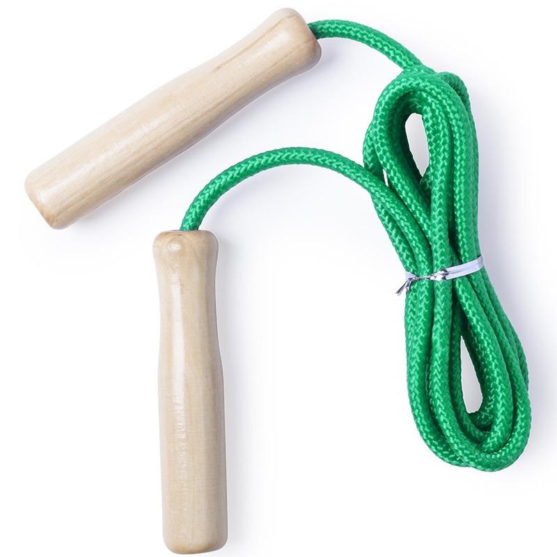 Buitenspeelgoed groen springtouw 240 cm met houten grepen voor kinderen