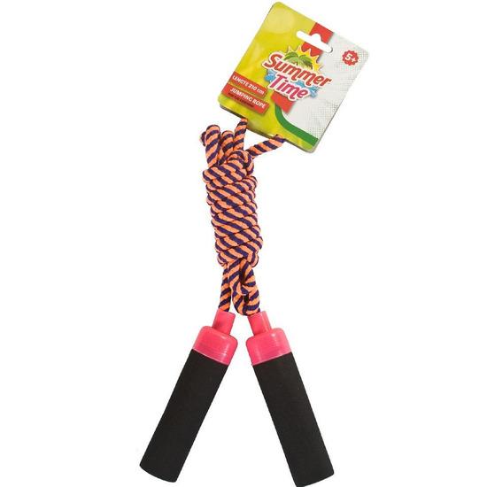 Buitenspeelgoed roze blauw springtouw 210 cm voor kinderen