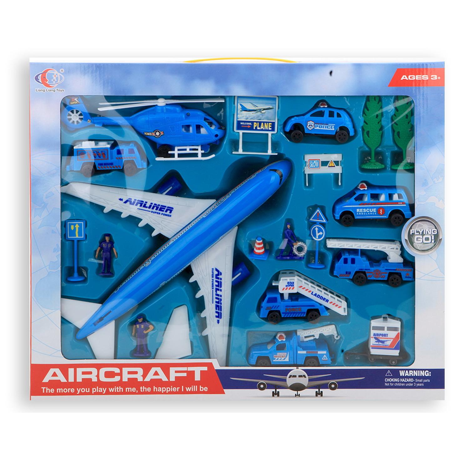 Speelgoedset vliegveld luchthaven voertuigen 20 delig voor kinderen