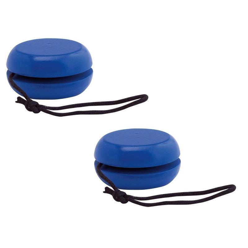 Voordeelset van 10x stuks houten jojos speelgoed blauw 5.5 cm