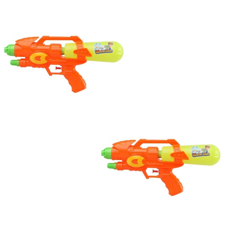 Voordeelset van 2x stuks watergeweer pistool oranje geel 34 cm