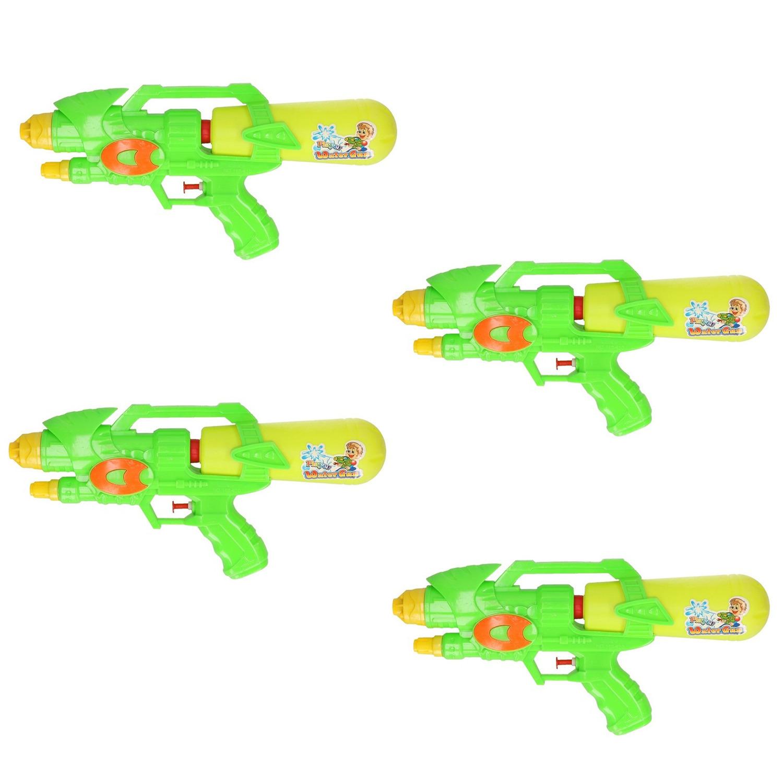 Voordeelset van 4x stuks watergeweer groen geel 34 cm