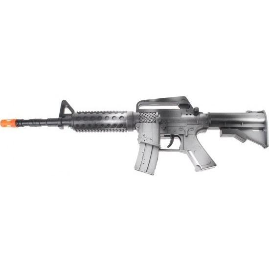 Zwart automatisch speelgoed geweer met geluid 46 cm